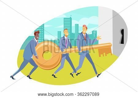Team, Coworking, Cooperation, Partnership, Business Concept. Team Of Businessmen Partners Coworkers