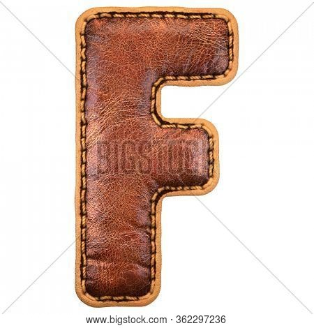 Leather letter F uppercase. 3D render font with skin texture on white background. 3d rendering