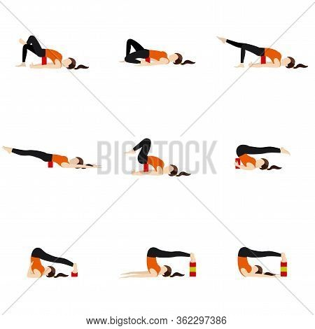 Stylized Woman Practicing Backbend Modifications With Props