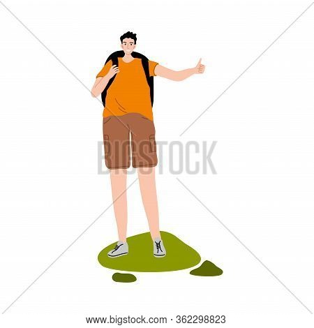 Man Traveler With Backpack Standing And Hitch-hiking