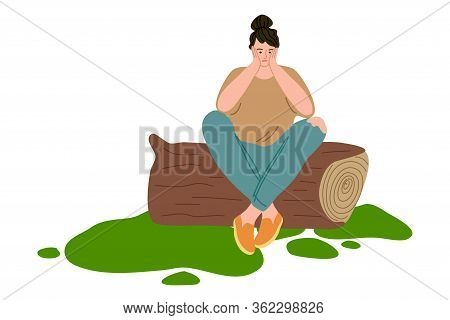 Woman Traveler With Backpack Sitting On Log And Waiting For Hitch-hiking