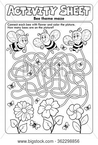 Activity Sheet Bee Theme 1 - Eps10 Vector Picture Illustration.