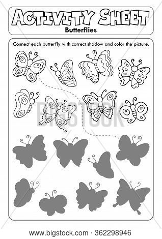 Activity Sheet Butterflies 1 - Eps10 Vector Picture Illustration.
