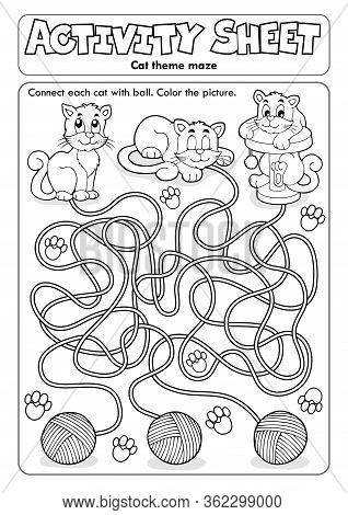Activity Sheet Cat Theme 1 - Eps10 Vector Picture Illustration.
