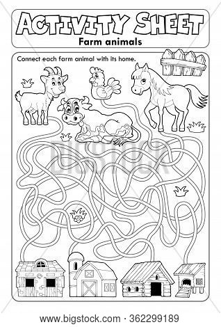 Activity Sheet Farm Animals 1 - Eps10 Vector Picture Illustration.