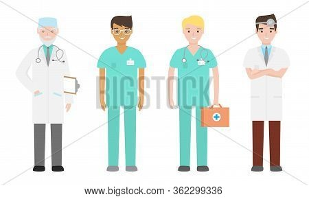 Set Of Different Male Doctors And Nurses In Medical Attire Engaged In Their Work. Vector Illustratio