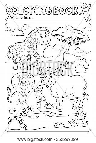 Coloring Book African Fauna 5 - Eps10 Vector Picture Illustration.