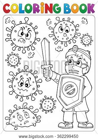 Coloring Book Doctor Fighting Virus 2 - Eps10 Vector Picture Illustration.