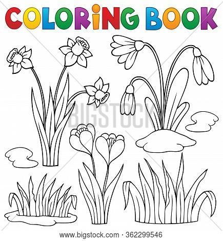 Coloring Book Early Spring Flowers Set 1 - Eps10 Vector Picture Illustration.