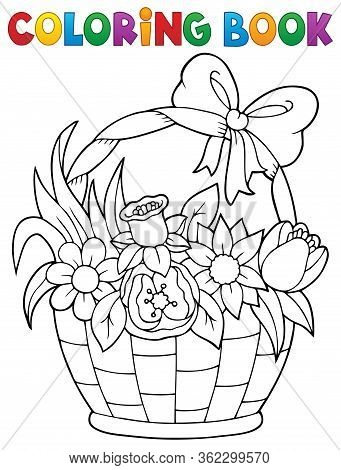 Coloring Book Flower Basket Theme 1 - Eps10 Vector Picture Illustration.