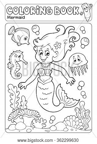 Coloring Book Mermaid Topic 4 - Eps10 Vector Picture Illustration.