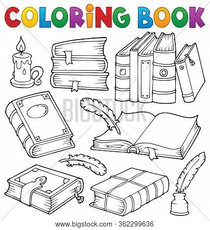 Coloring Book Old Books Theme Set 1 - Eps10 Vector Picture Illustration.