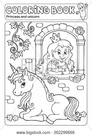 Coloring Book Princess And Unicorn 1 - Eps10 Vector Picture Illustration.