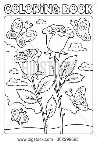 Coloring Book Roses And Butterflies - Eps10 Vector Picture Illustration.