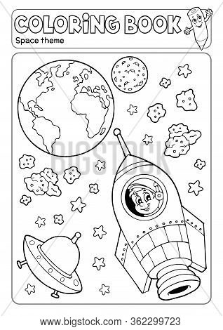 Coloring Book Space Theme 3 - Eps10 Vector Picture Illustration.