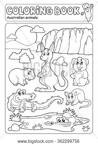 Coloring Book Various Australian Animals - Eps10 Vector Picture Illustration.