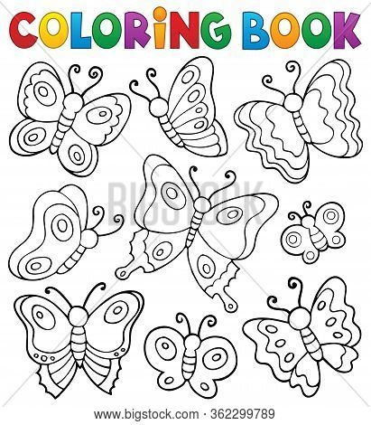 Coloring Book Various Butterflies Theme 1 - Eps10 Vector Picture Illustration.