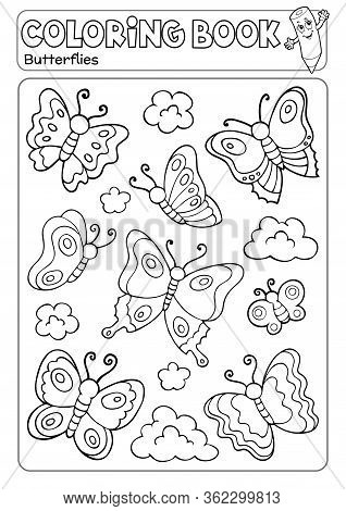 Coloring Book Various Butterflies Theme 2 - Eps10 Vector Picture Illustration.