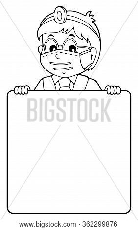 Doctor Holding Blank Panel Monochrome Image 1 - Eps10 Vector Picture Illustration.