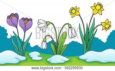 Early Spring Flowers Theme Image 2 - Eps10 Vector Picture Illustration.