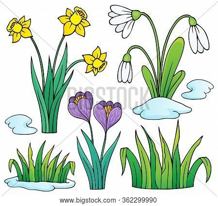 Early Spring Flowers Theme Set 1 - Eps10 Vector Picture Illustration.