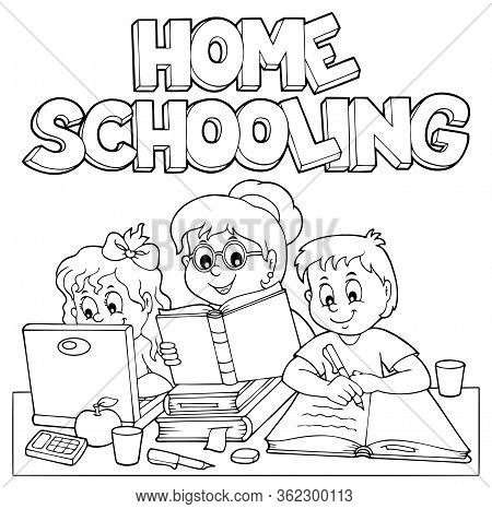 Home Schooling Monochrome Image 1 - Eps10 Vector Picture Illustration.