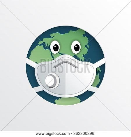 The World Infected By The Coronavirus Earth With A Mask