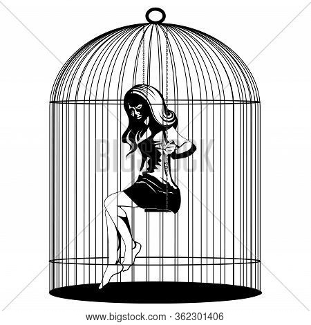 Vector Illustration Of A Woman On Swing In Birdcage