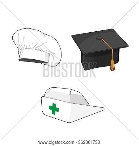Profession Hat Set. Nurse Cap, Cook Chefs Hat, Graduation Black Square Hat. Uniform Accessories Coll