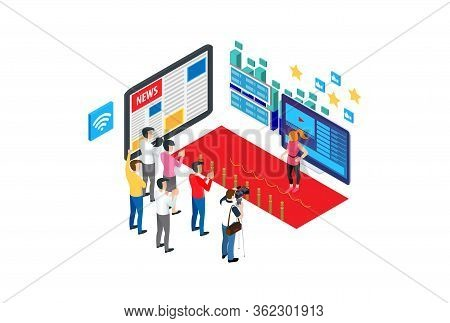 Modern Isometric Influencer Marketer Illustration, Web Banners, Suitable For Diagrams, Infographics,