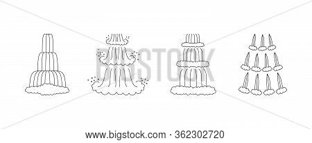 Waterfall Cascade Set. Outline Icons Isolated On White Background. Vector Illustration.