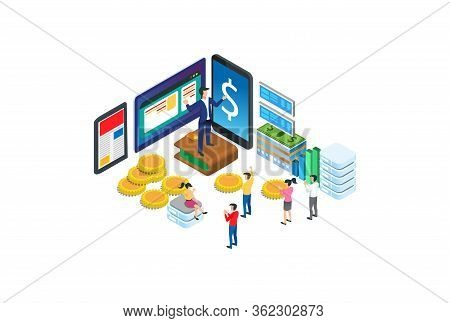 Modern Isometric Digital Wallet Illustration, Web Banners, Suitable For Diagrams, Infographics, Book