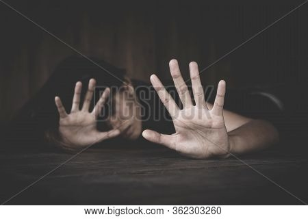 Women Use Their Hands To Protect Themselves From Sexual Abuse.detain Rape, Sexual Abuse , Human Traf