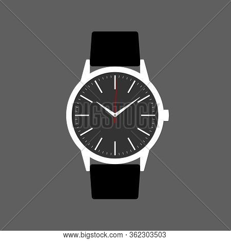 Wrist Watch Icon. Symbol Watch With Band Isolated On Gray  Background. Design Template Closeup. Watc