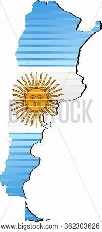 Shiny Grunge Map Of The Argentina - Illustration,  Three Dimensional Map Of Argentina