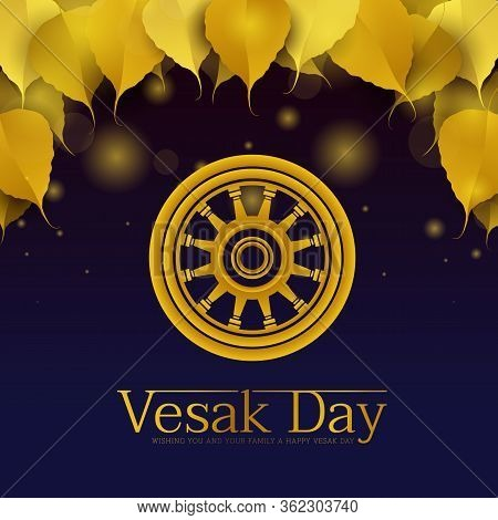 Vesak Day Banner - Gold Dharmachakra Wheel Of Dhamma Sign On Blue Background With Gold Bodhi Leaves