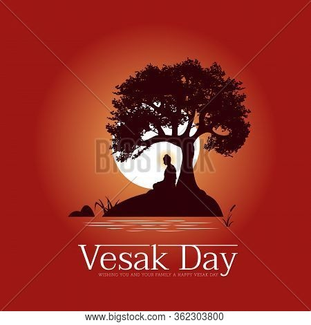 Vesak Day Banner With The Lord Buddha Meditated Under Bodhi  Trees On A Full Moon Night Near The Str