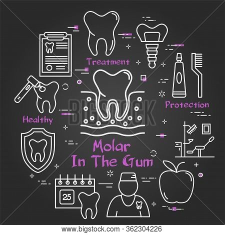 Vector Black Line Round Concept - Molar Tooth