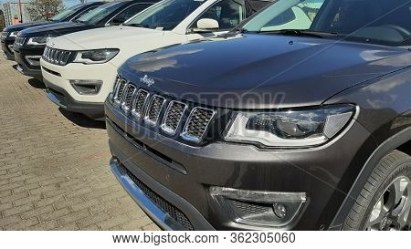 Gdansk, Poland - April 17, 2020: Jeep Compass car at  the Fiat showroom of Gdansk, Poland.