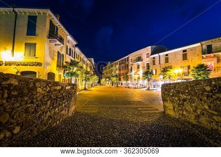 Sirmione, Italy - October 25, 2019: Architecture of the village at the Scaligero Castle over the Garda lake in Sirmione, Italy