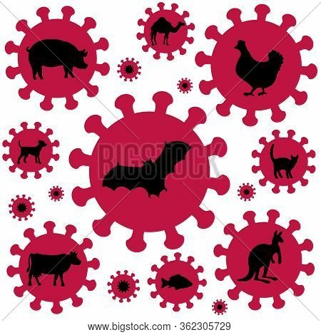 Coronavirus Symbol. Pig Bird Bat Flu And Other Animal Influenzas. Comic Vector Icons, Illustration O
