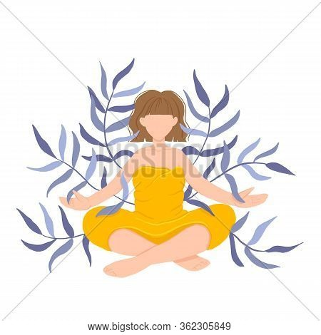 Girl In Yoga Lotus Practices Meditation. Vector Illustration In Flat Style. Young Woman Meditating,