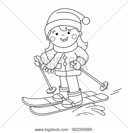 Coloring Page Outline Of Cartoon Girl Skiing. Winter Sports. Coloring Book For Kids