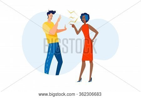 Arguing Couple In Conflict. Man And Woman Shouting And Blaming Each Other Flat Vector Illustration.