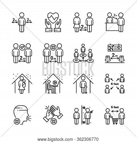 Social Distancing Outline Icon Set. Include Such Icons As Stay Home, Protection, Safety Distance And