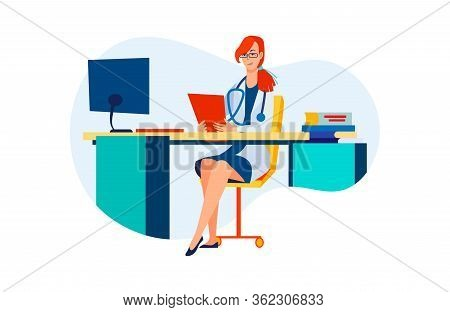Female Doctor At Her Workplace. Woman In White Coat At Computer, Practitioner Flat Vector Illustrati