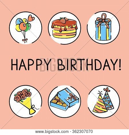 Vector Birthday Card With A Bouquet Of Flowers, Box Of Chocolates, Holiday Caps, Gift Box, Holiday C