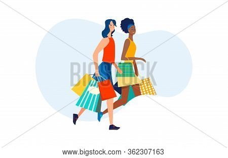 Positive Female Friends Walking With Shopping Bags. Multiracial Women, Shoppers, Customers Flat Vect
