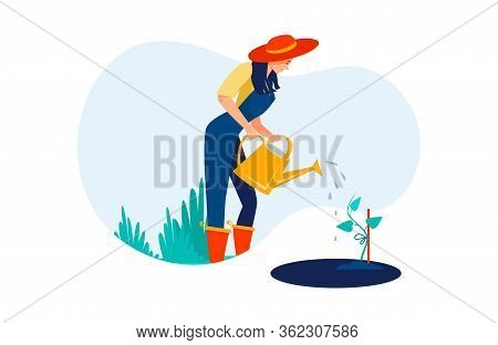 Female Gardening Watering Seedling. Positive Young Woman Cultivating Plant Flat Vector Illustration.