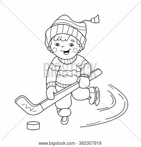 Coloring Page Outline Of Cartoon Boy Playing Hockey. Winter Sports. Coloring Book For Kids